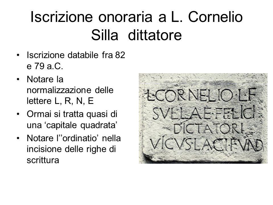 Iscrizione onoraria a L. Cornelio Silla dittatore