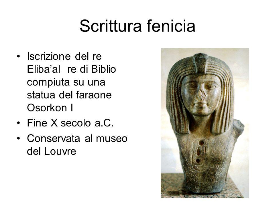 Scrittura fenicia Iscrizione del re Eliba'al re di Biblio compiuta su una statua del faraone Osorkon I.