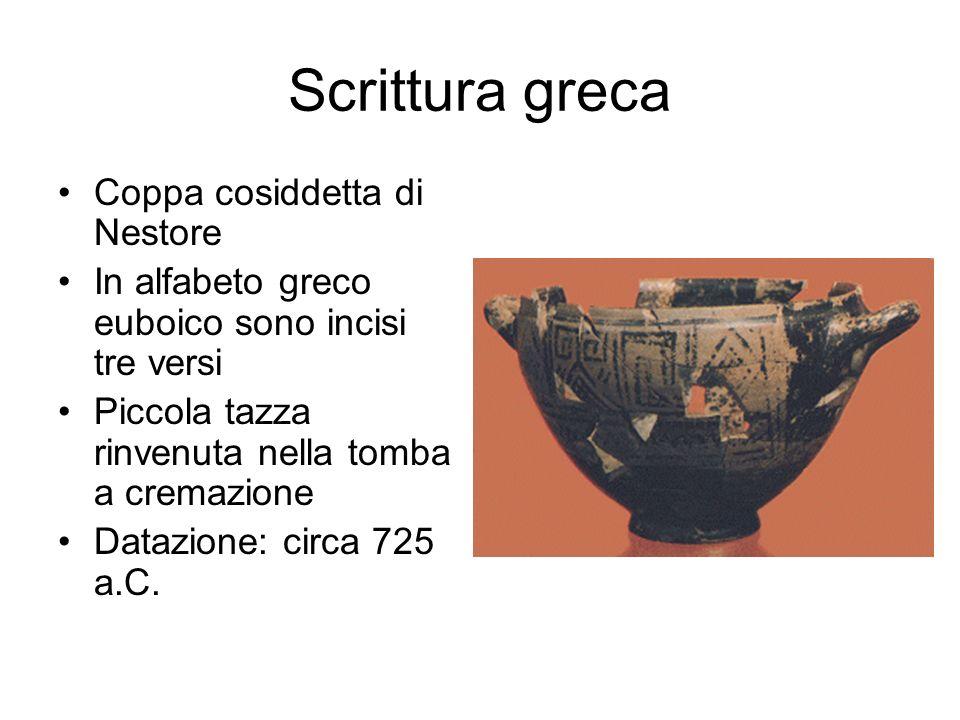 Scrittura greca Coppa cosiddetta di Nestore