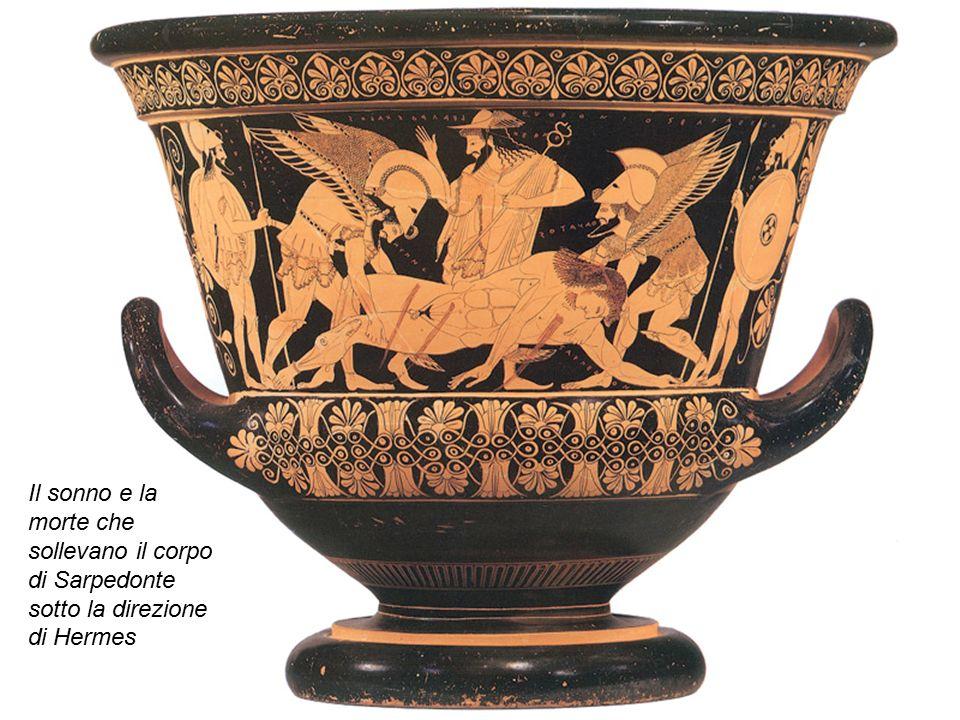Il sonno e la morte che sollevano il corpo di Sarpedonte sotto la direzione di Hermes
