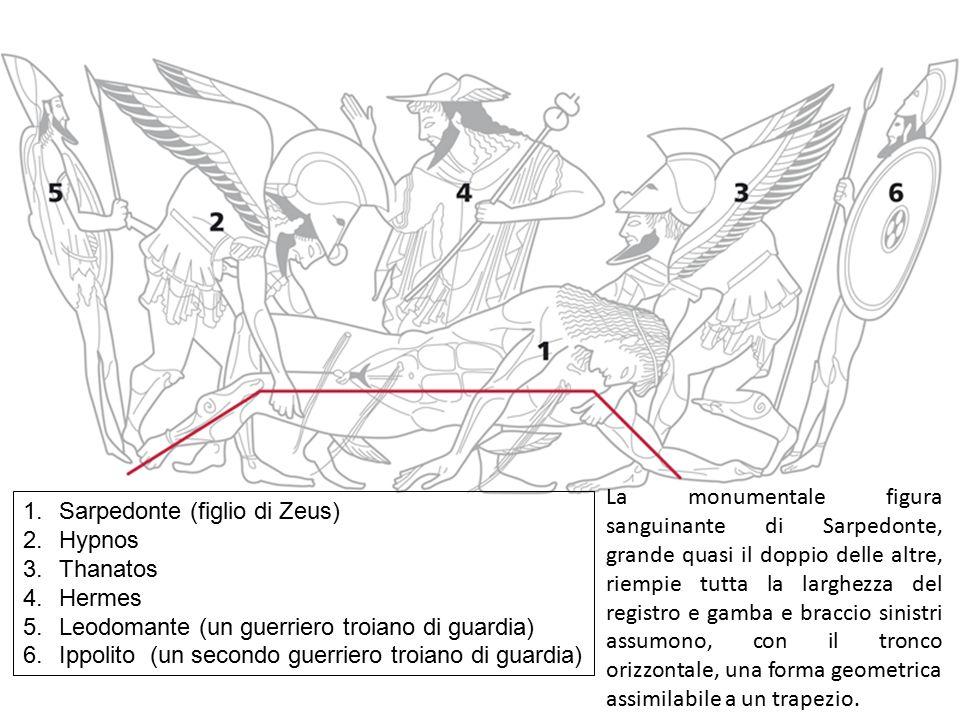 La monumentale figura sanguinante di Sarpedonte, grande quasi il doppio delle altre, riempie tutta la larghezza del registro e gamba e braccio sinistri assumono, con il tronco orizzontale, una forma geometrica assimilabile a un trapezio.
