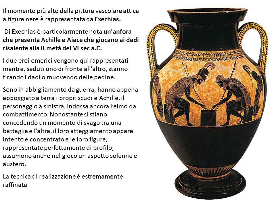 Il momento più alto della pittura vascolare attica a figure nere è rappresentata da Exechias.