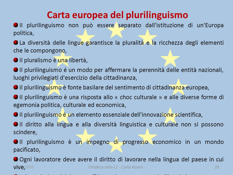 Carta europea del plurilinguismo