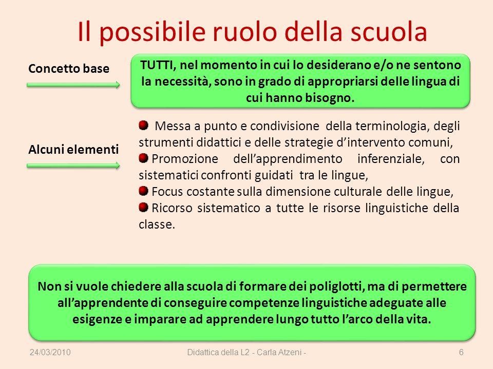 Il possibile ruolo della scuola