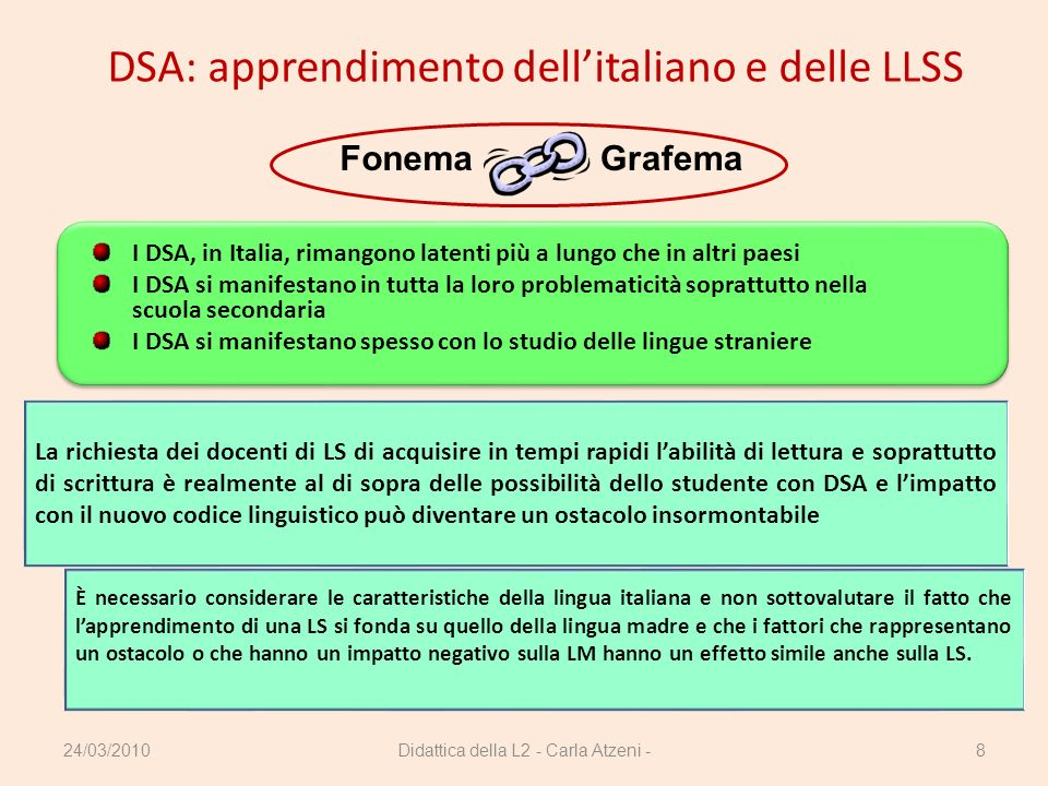 DSA: apprendimento dell'italiano e delle LLSS