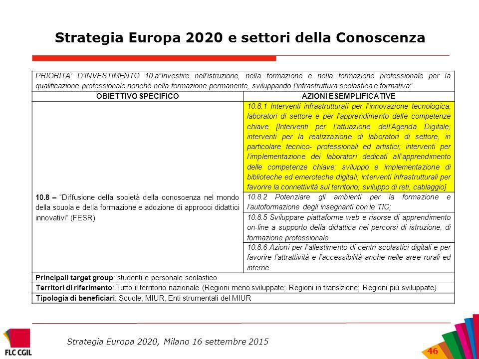Strategia Europa 2020 e settori della Conoscenza
