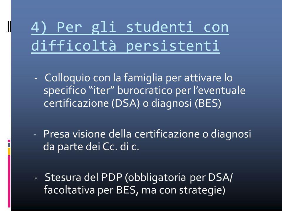 4) Per gli studenti con difficoltà persistenti