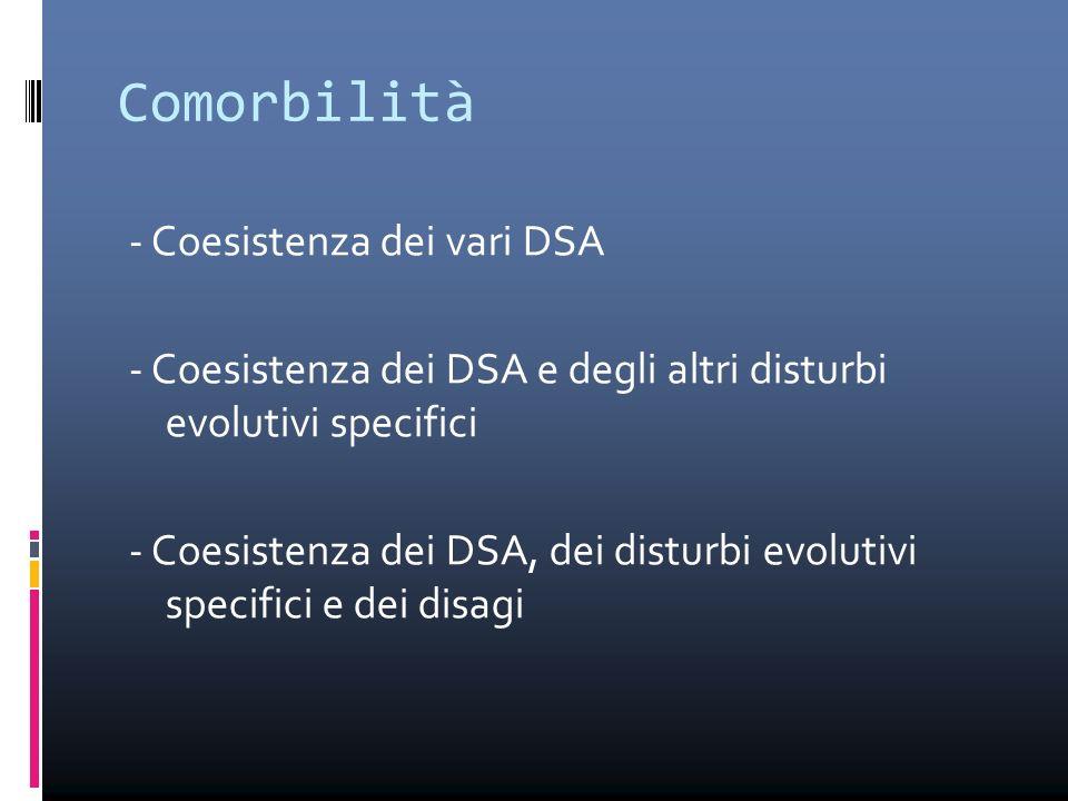 Comorbilità - Coesistenza dei vari DSA