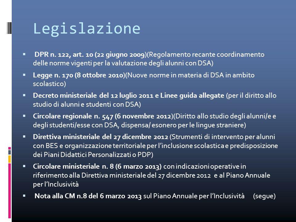 Legislazione DPR n. 122, art. 10 (22 giugno 2009)(Regolamento recante coordinamento delle norme vigenti per la valutazione degli alunni con DSA)