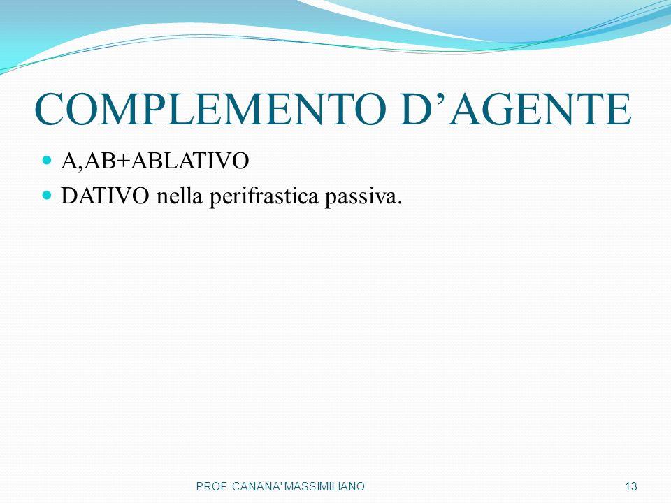 COMPLEMENTO D'AGENTE A,AB+ABLATIVO DATIVO nella perifrastica passiva.