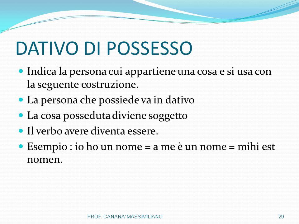 DATIVO DI POSSESSO Indica la persona cui appartiene una cosa e si usa con la seguente costruzione. La persona che possiede va in dativo.