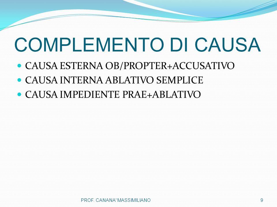 COMPLEMENTO DI CAUSA CAUSA ESTERNA OB/PROPTER+ACCUSATIVO