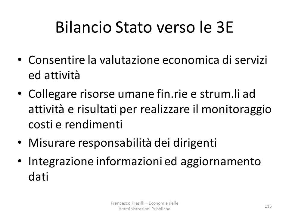 Bilancio Stato verso le 3E