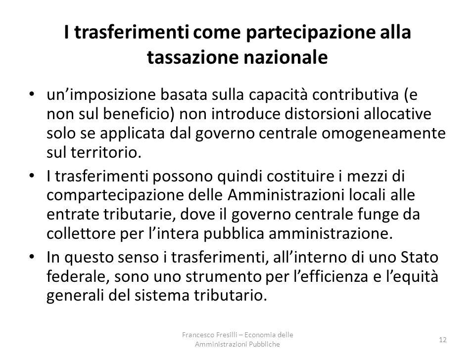 I trasferimenti come partecipazione alla tassazione nazionale