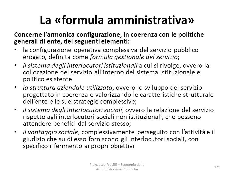 La «formula amministrativa»