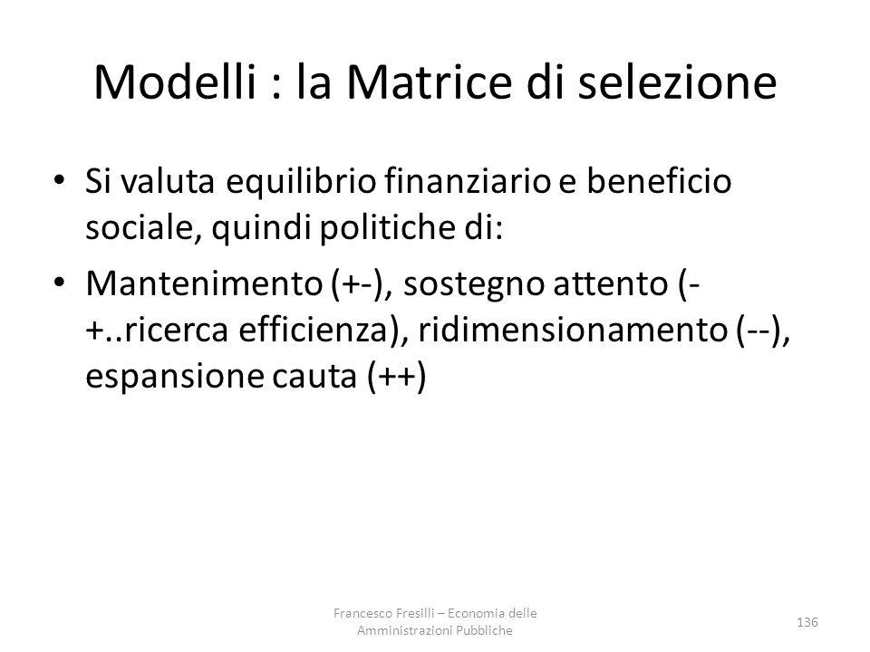 Modelli : la Matrice di selezione