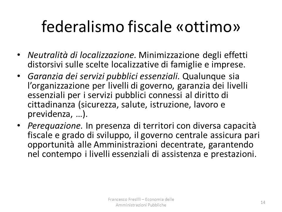 federalismo fiscale «ottimo»