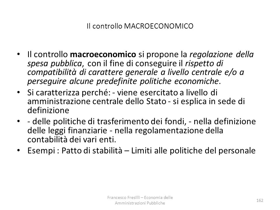 Il controllo MACROECONOMICO