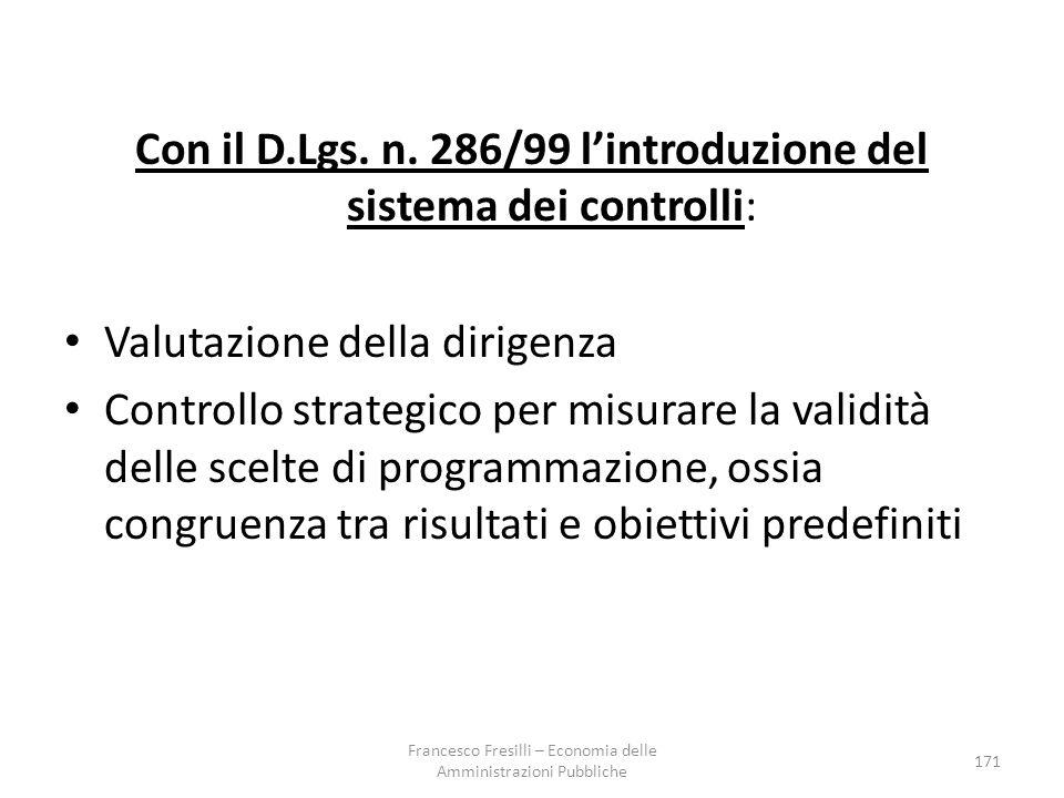 Con il D.Lgs. n. 286/99 l'introduzione del sistema dei controlli:
