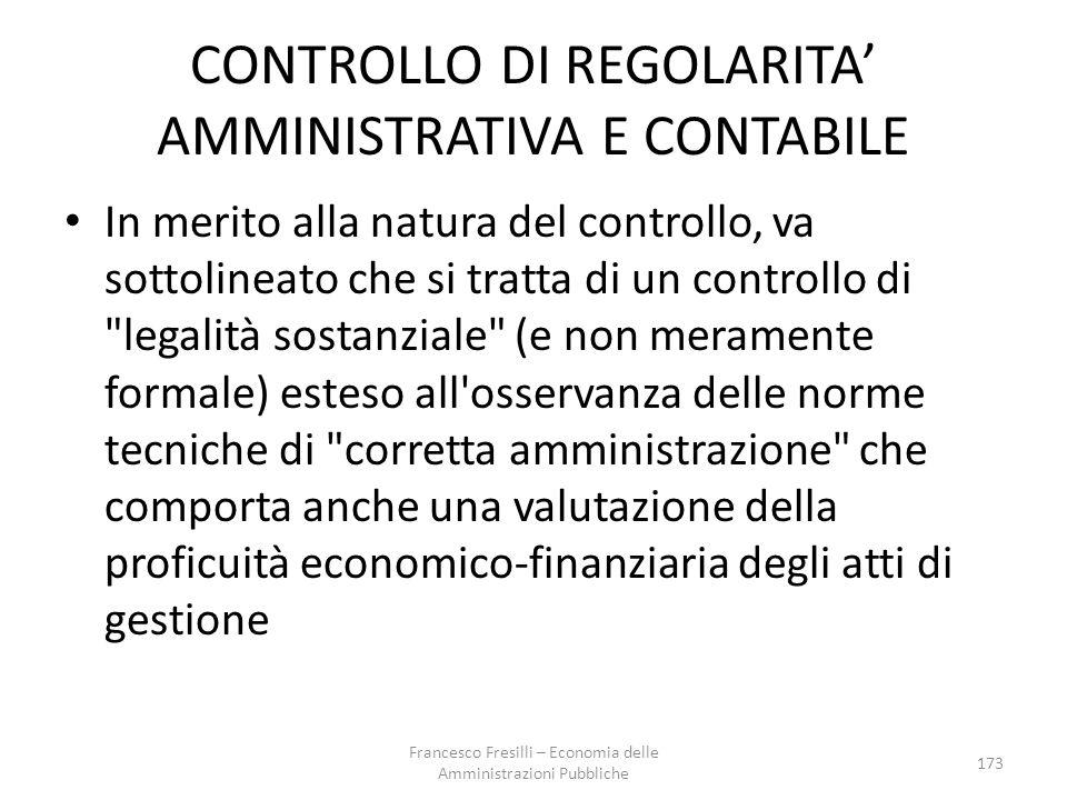 CONTROLLO DI REGOLARITA' AMMINISTRATIVA E CONTABILE