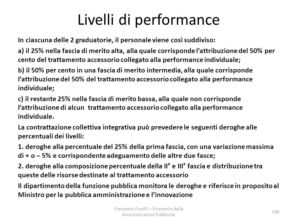 Livelli di performance