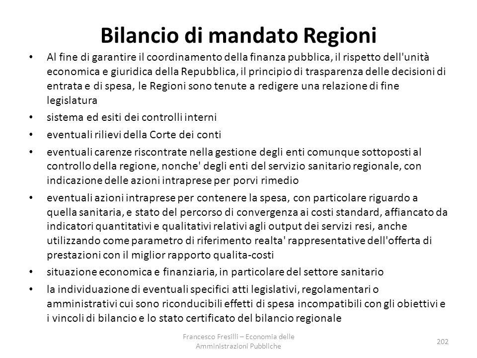 Bilancio di mandato Regioni