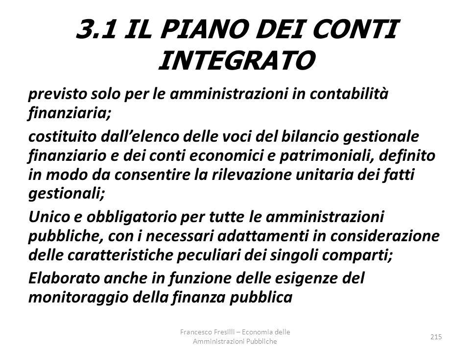 3.1 IL PIANO DEI CONTI INTEGRATO