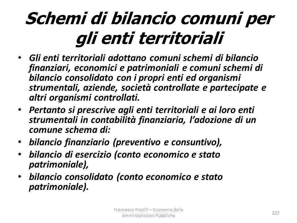 Schemi di bilancio comuni per gli enti territoriali