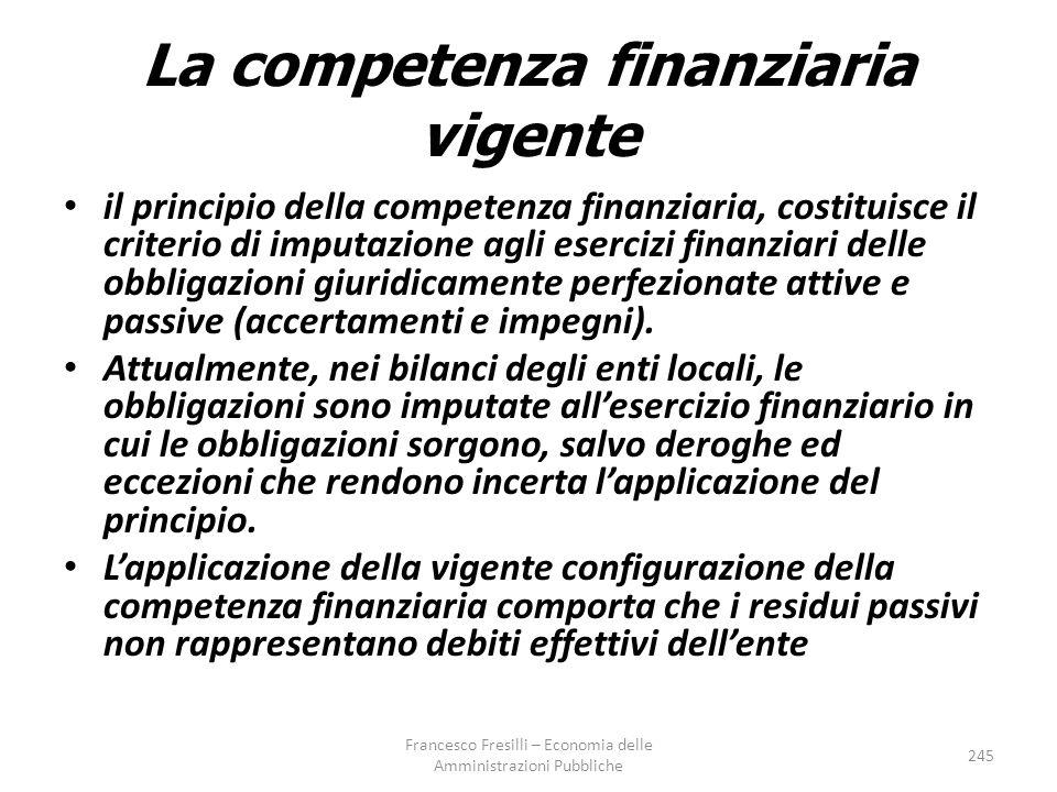 La competenza finanziaria vigente