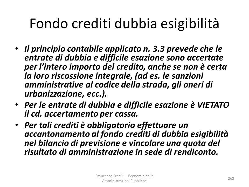 Fondo crediti dubbia esigibilità