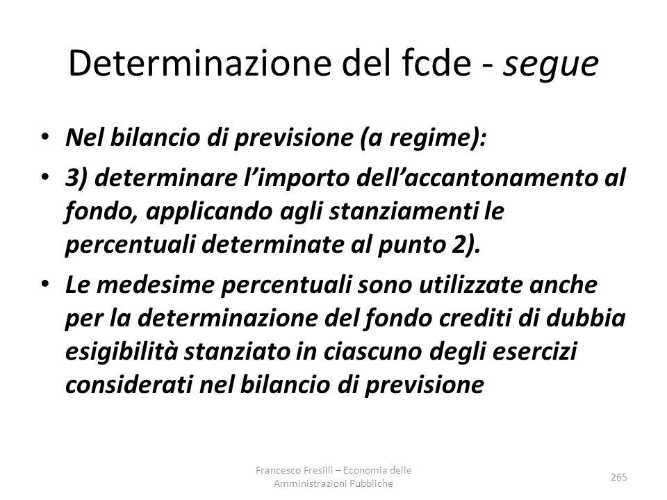 Determinazione del fcde - segue