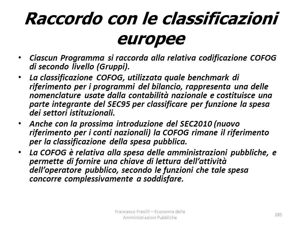 Raccordo con le classificazioni europee