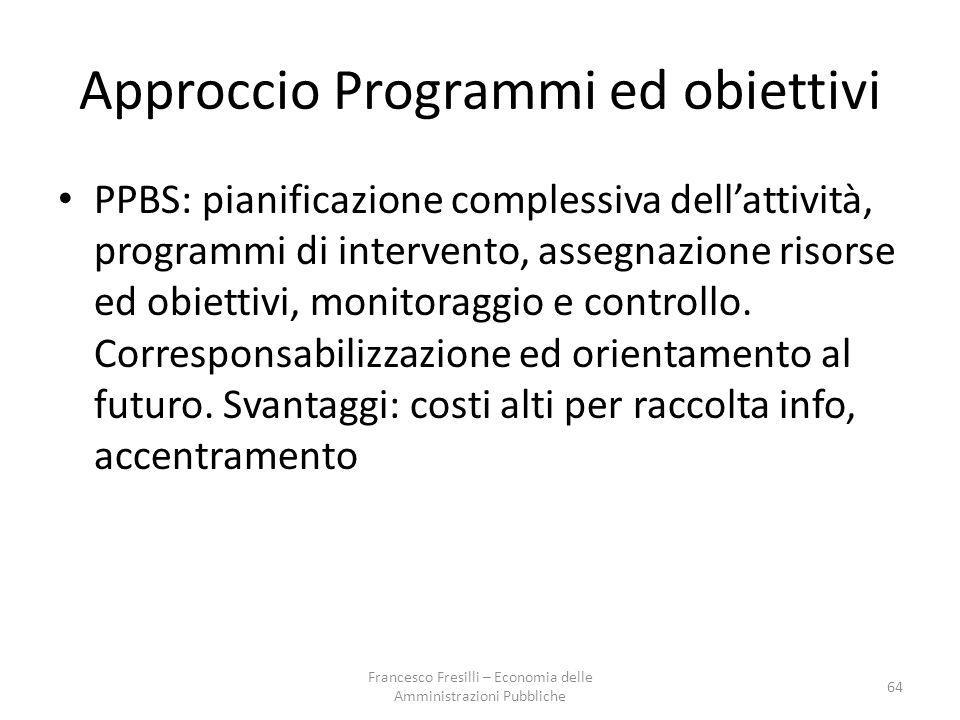 Approccio Programmi ed obiettivi