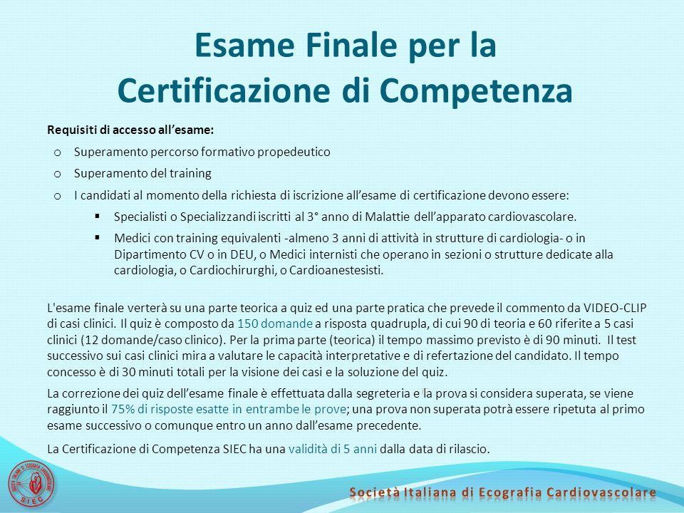 Esame Finale per la Certificazione di Competenza