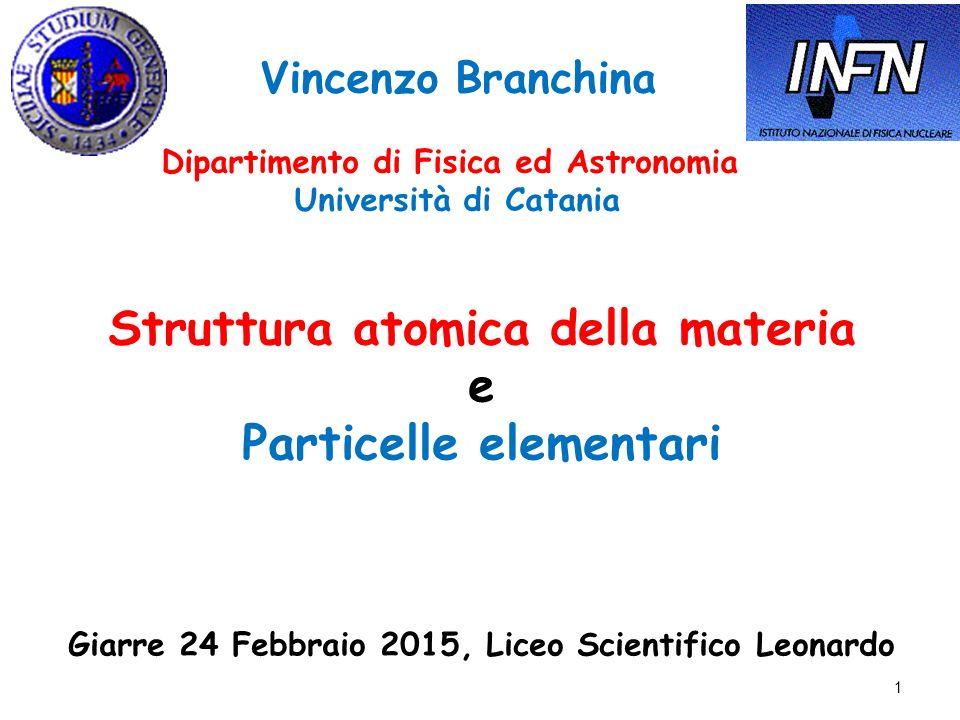 Struttura atomica della materia e Particelle elementari
