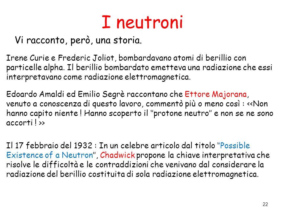 I neutroni Vi racconto, però, una storia.