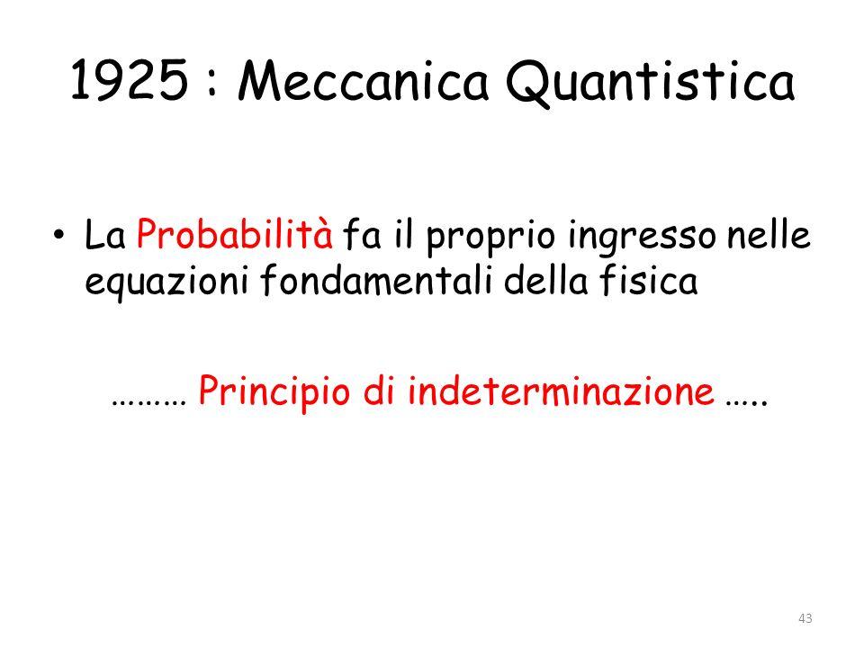 1925 : Meccanica Quantistica