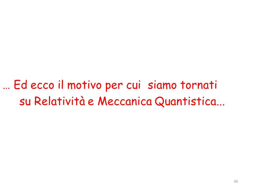 … Ed ecco il motivo per cui siamo tornati su Relatività e Meccanica Quantistica...