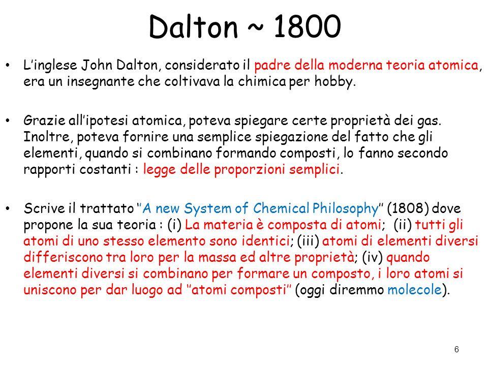 Dalton ~ 1800 L'inglese John Dalton, considerato il padre della moderna teoria atomica, era un insegnante che coltivava la chimica per hobby.