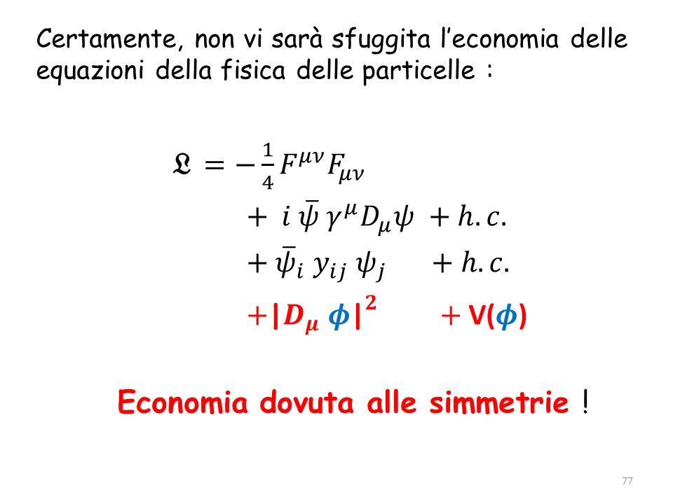 Economia dovuta alle simmetrie !