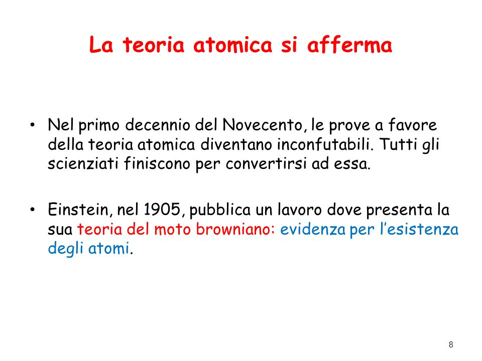 La teoria atomica si afferma