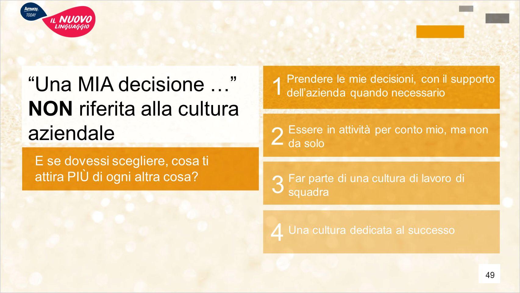 1 2 3 4 Una MIA decisione … NON riferita alla cultura aziendale