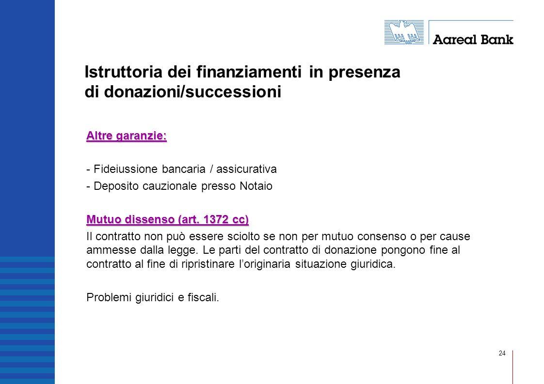 Istruttoria dei finanziamenti in presenza di donazioni/successioni