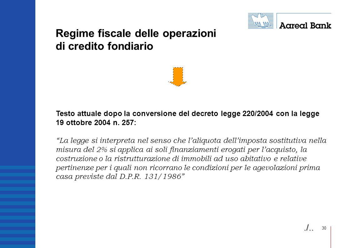 Regime fiscale delle operazioni di credito fondiario