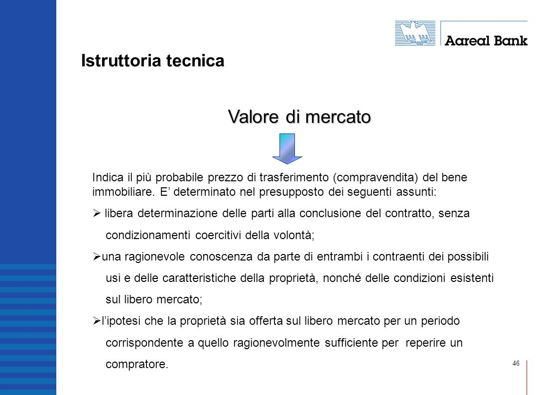 Valore di mercato Istruttoria tecnica