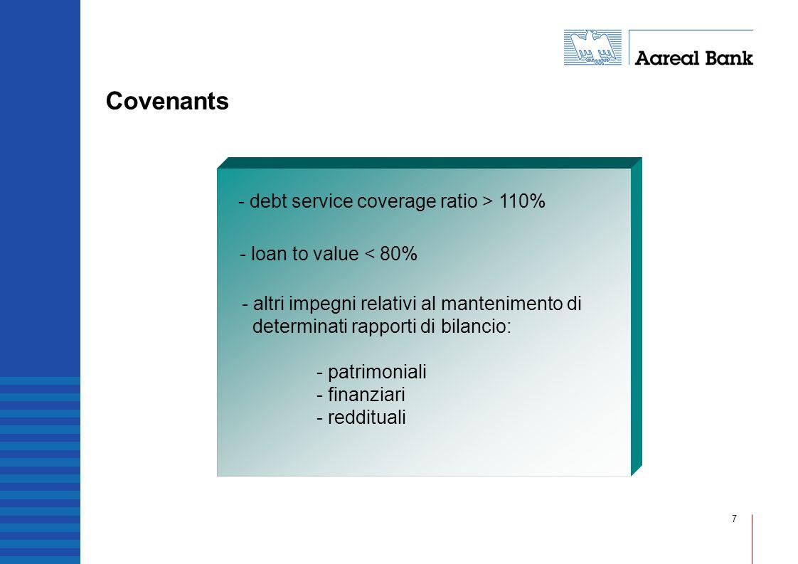 - debt service coverage ratio > 110%
