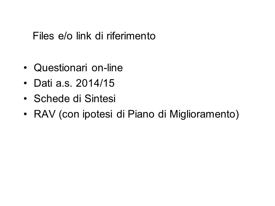 Files e/o link di riferimento