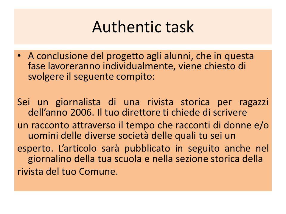 Authentic task A conclusione del progetto agli alunni, che in questa fase lavoreranno individualmente, viene chiesto di svolgere il seguente compito: