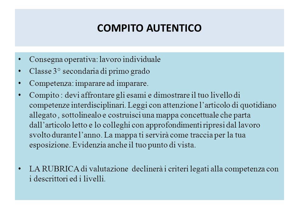 COMPITO AUTENTICO Consegna operativa: lavoro individuale