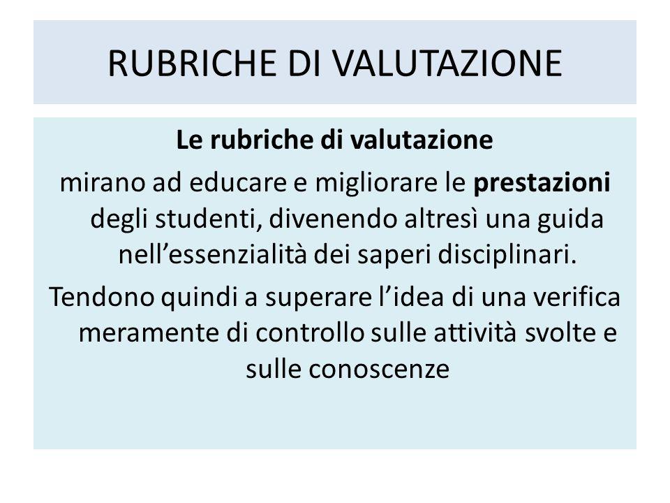 RUBRICHE DI VALUTAZIONE